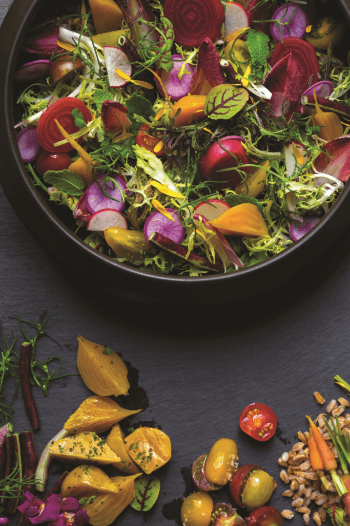 Closeup of a colorful salad filled with radishes, yellow peppers, tomatoes, and greens.