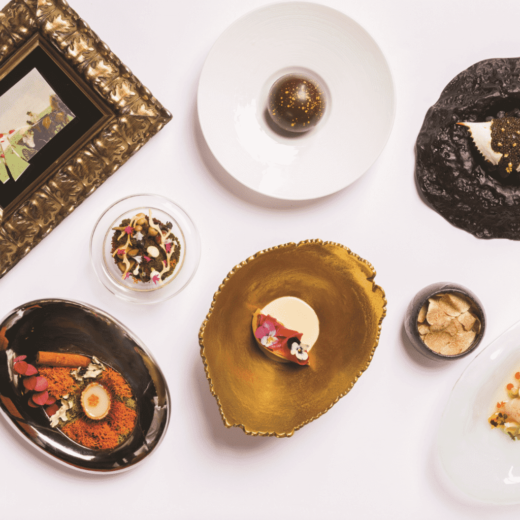 Flat lay photo of fancy dishes at Le Cirque at Bellagio