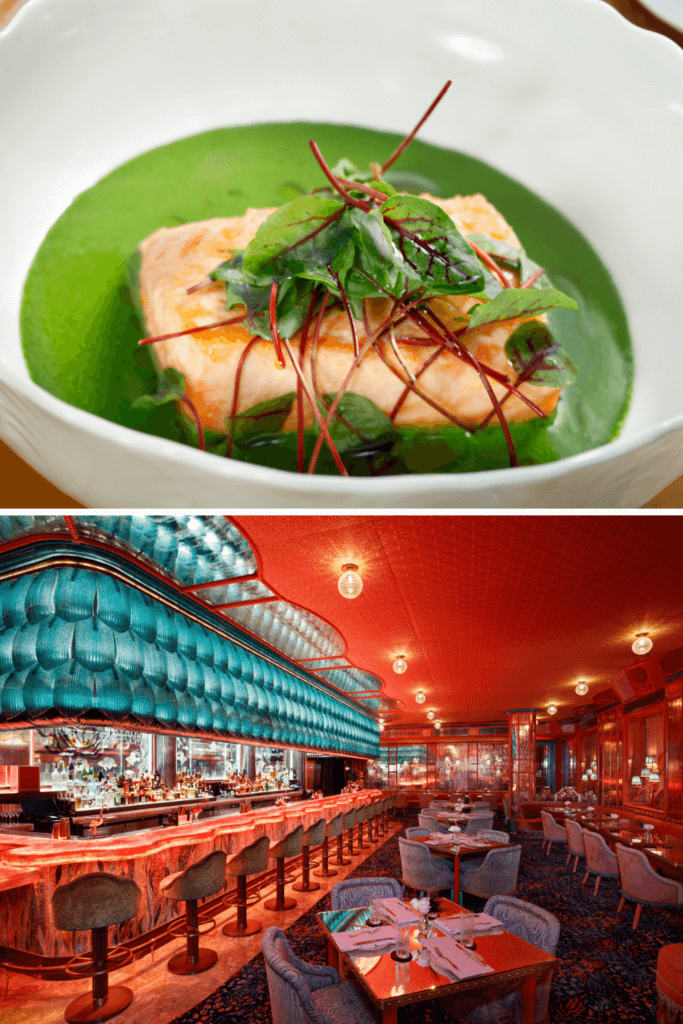 Photo collage with a photo of a seafood dish on top and a landscape view of the Mayfair Supper Club at Bellagio.
