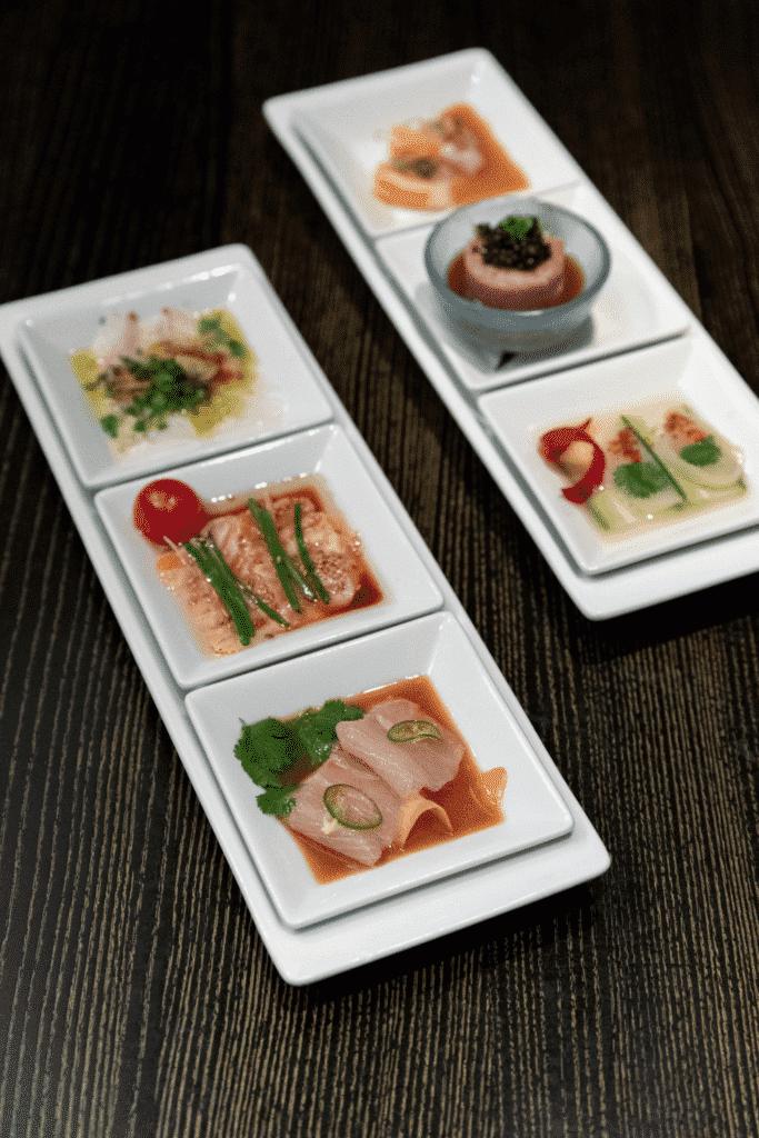 Closeup of sushi and sashimi from Nobu Restaurant in Las Vegas.