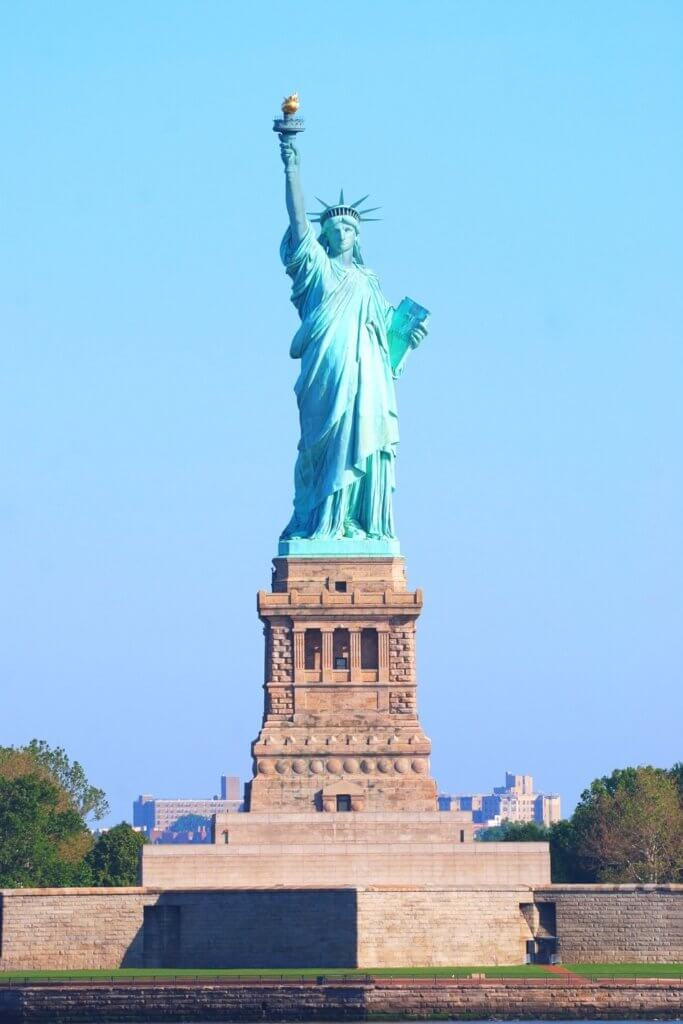 Closeup of the Statue of Liberty in New York.
