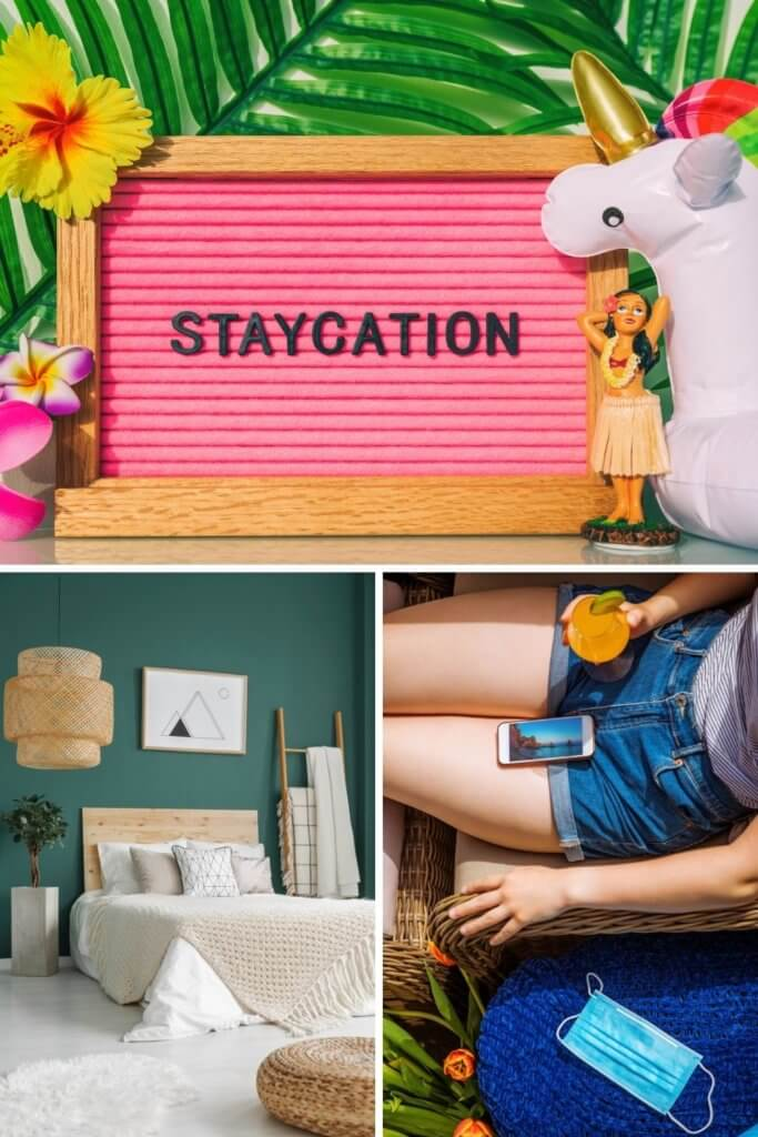 """Photo collage with a bohemian bedroom, closeup of a woman lounging on home patio furniture, and a letter board that says """"Staycation,"""" set amongst a tropical theme."""