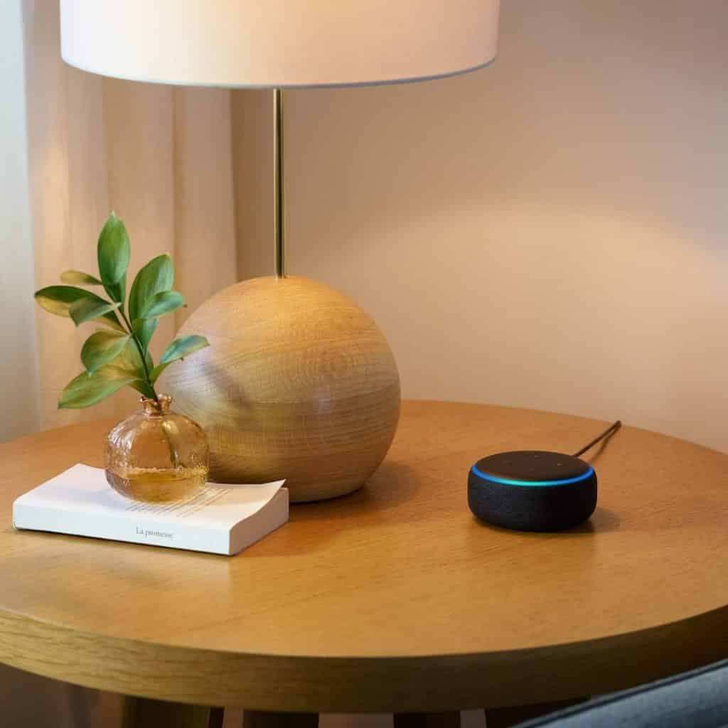 Photo of a side table with a lamp, small vase, and a black Amazon Echo Dot.