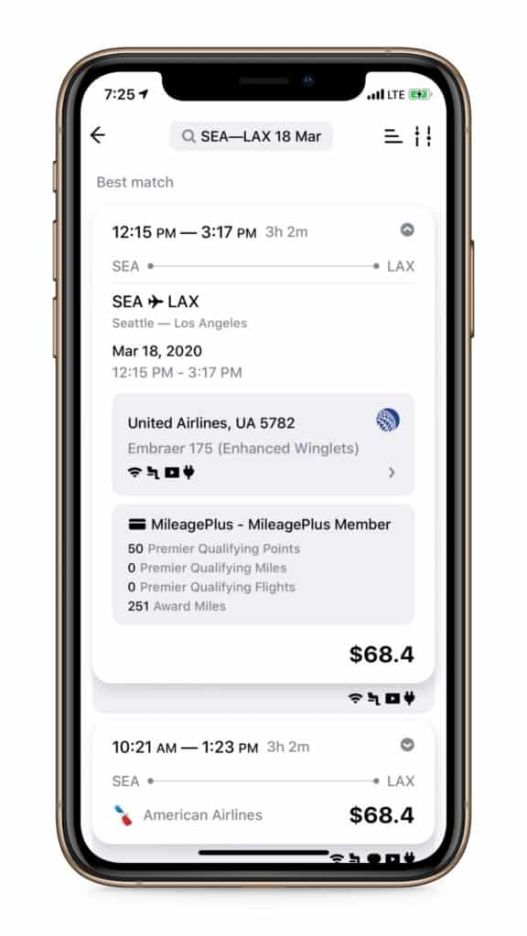 Mobile screenshot of the flight purchase option in App in the Air.