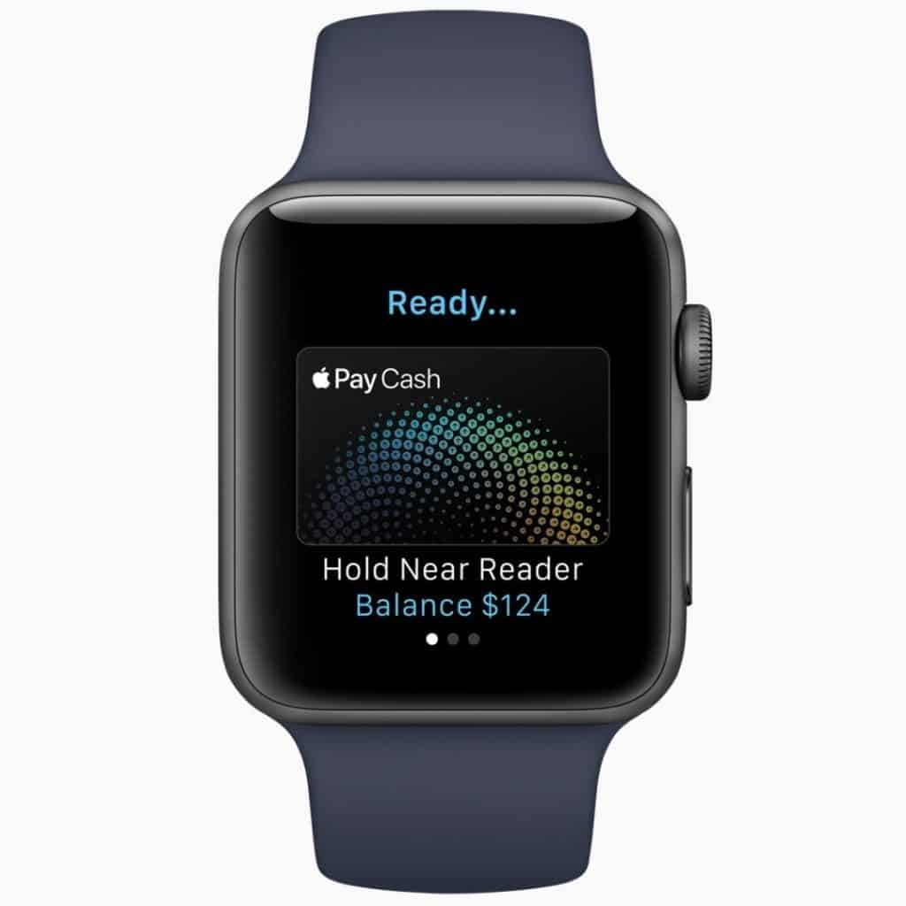 Navy blue smart watch with pay-on-the-go open on the screen.