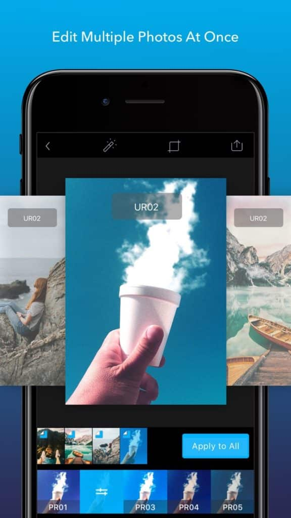 Screenshot demonstrating the ability to edit multiple photos at once in the Enlight Lightleap mobile app.