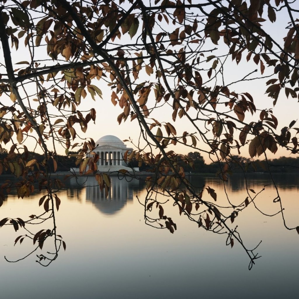 Photo of Jefferson Memorial from across the Tidal Basin through Fall foliage.