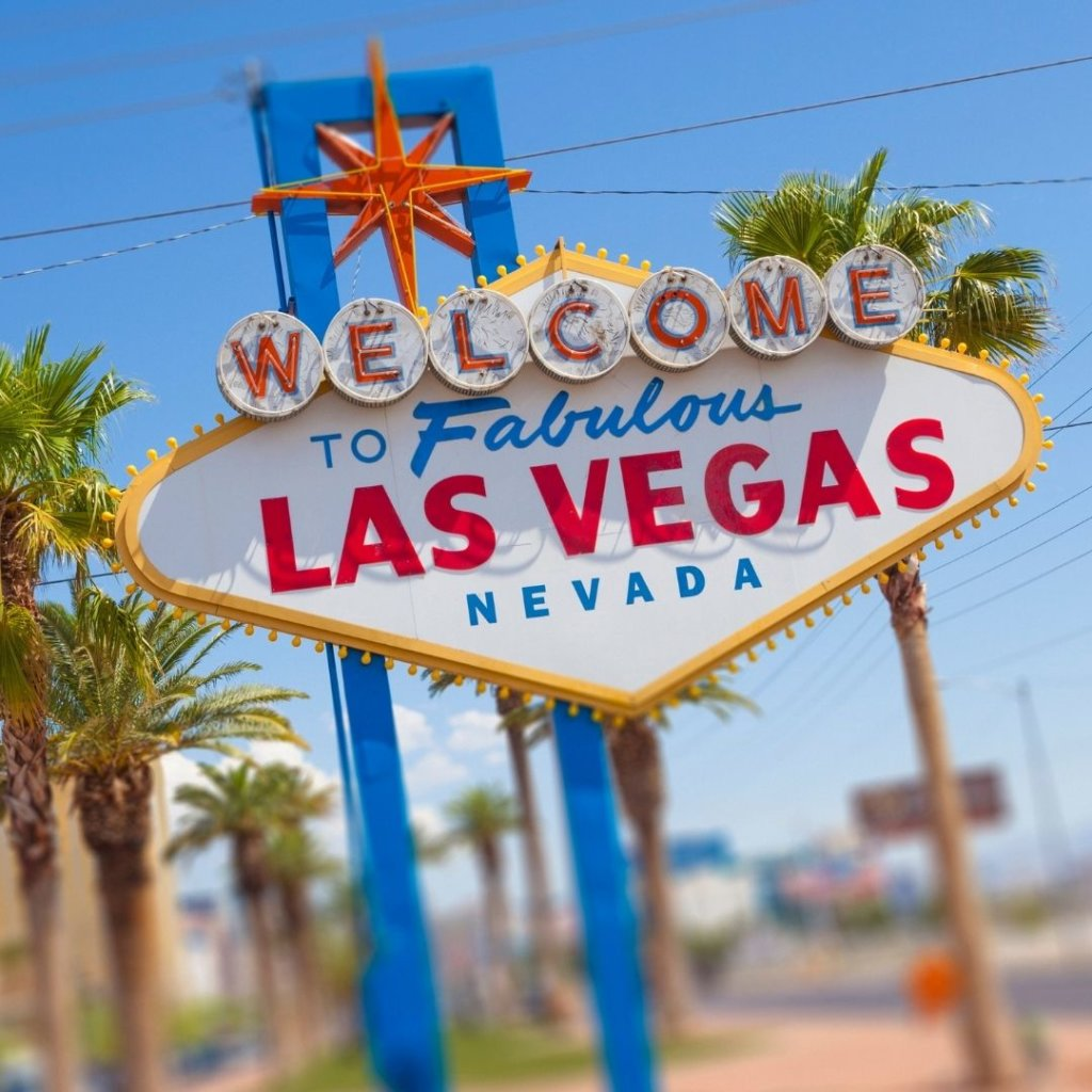 Closeup photo of the iconic 'Welcome to Fabulous Las Vegas Nevada' sign.