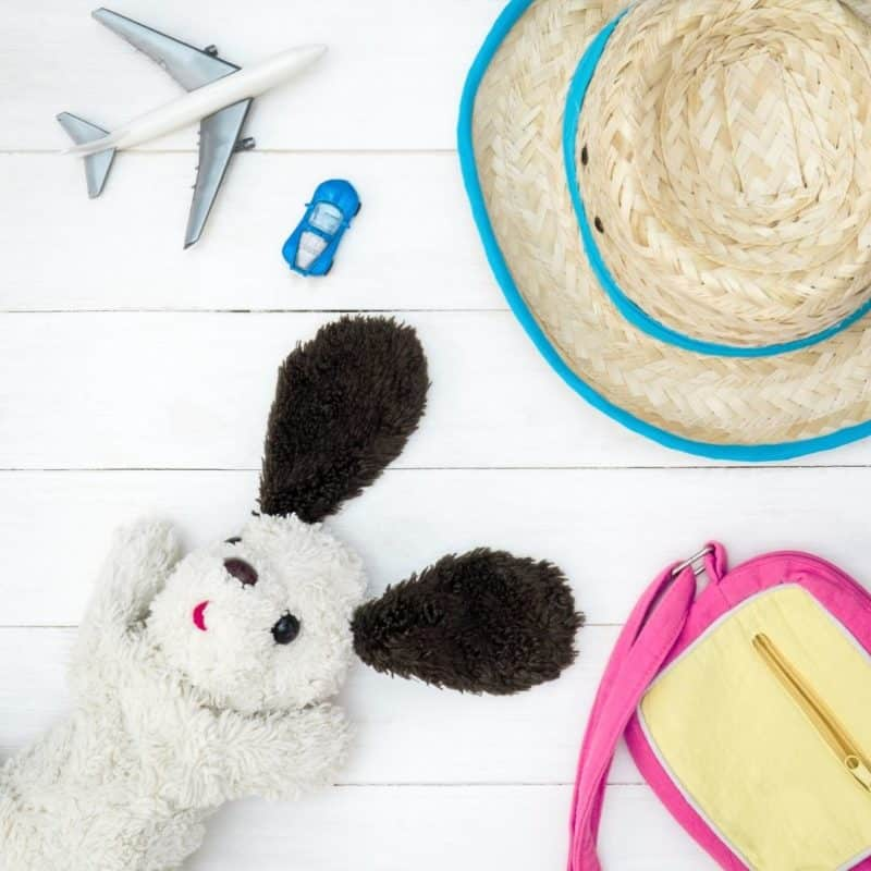Flatlay photo of a stuffed animal, a kids purse, a straw hat, a toy car, and a toy plane.