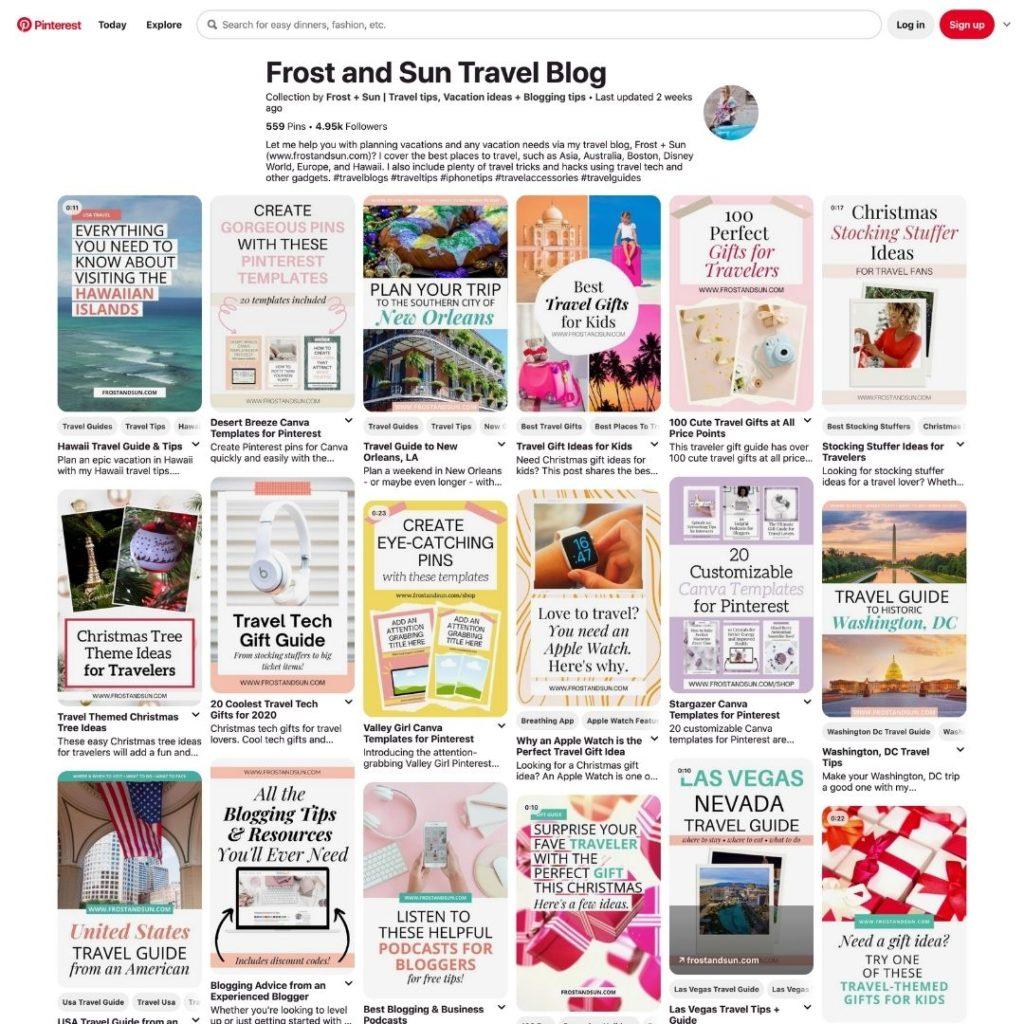 Screenshot of the Frost + Sun Travel Blog Pinterest board