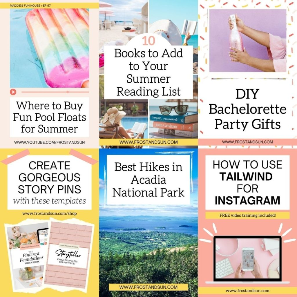 Screenshot of 6 examples of pins using the Frost + Sun Canva templates for Pinterest.
