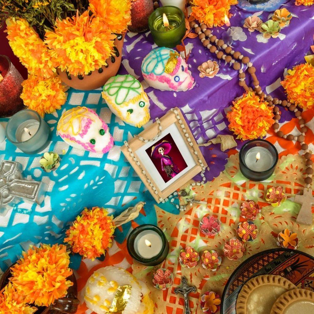 Closeup of a colorful Mexican altar for Día de los Muertos, aka Day of the Dead.
