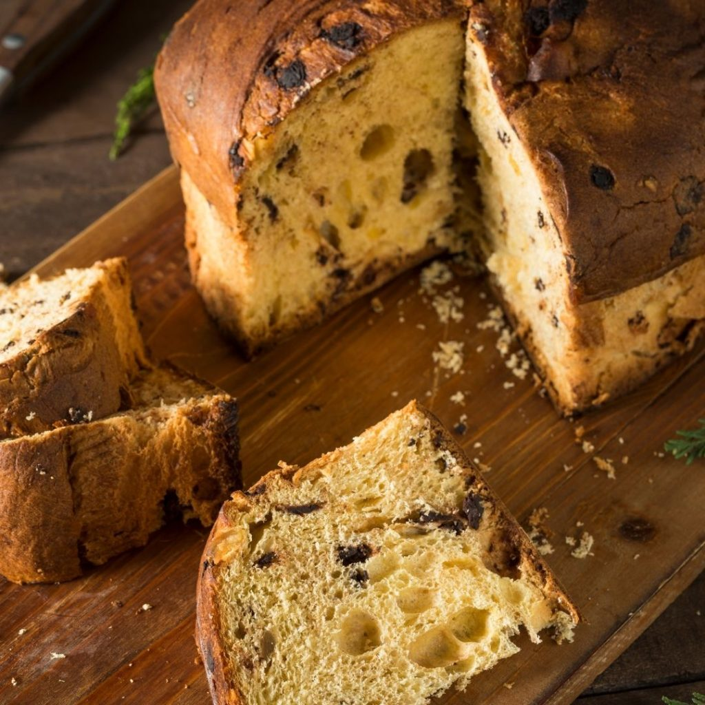 Closeup of Northern Italian panettone.