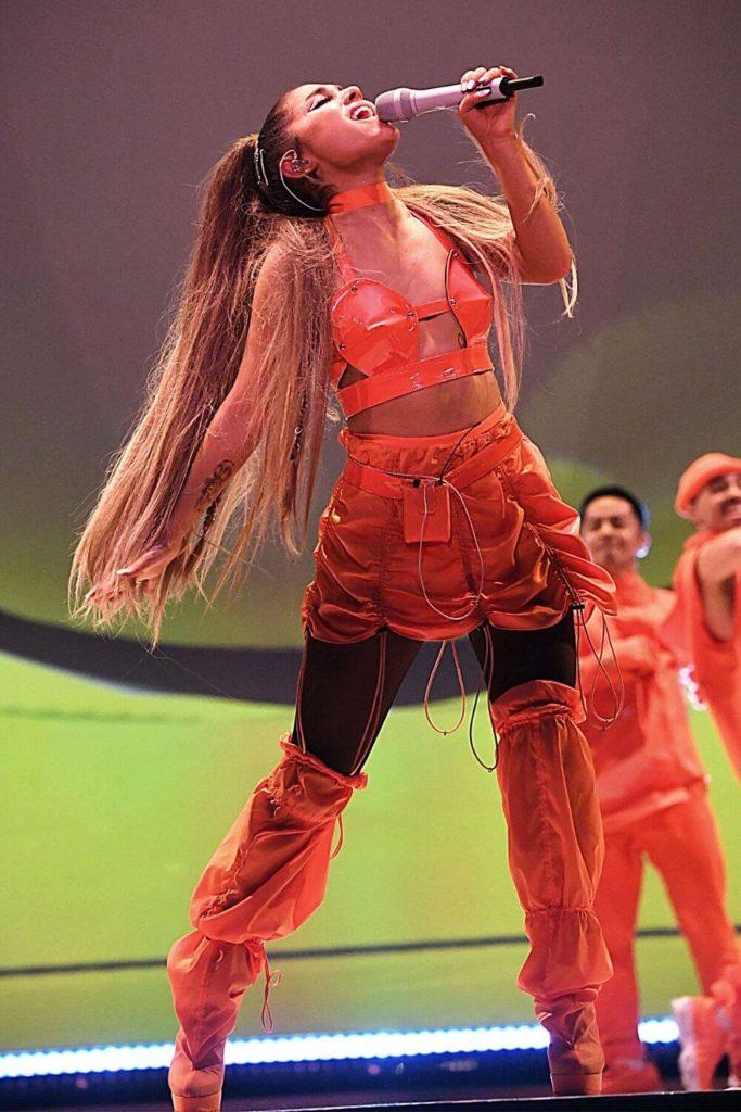 Closeup of pop singer Ariana Grande performing at the T-Mobile Arena in Las Vegas.