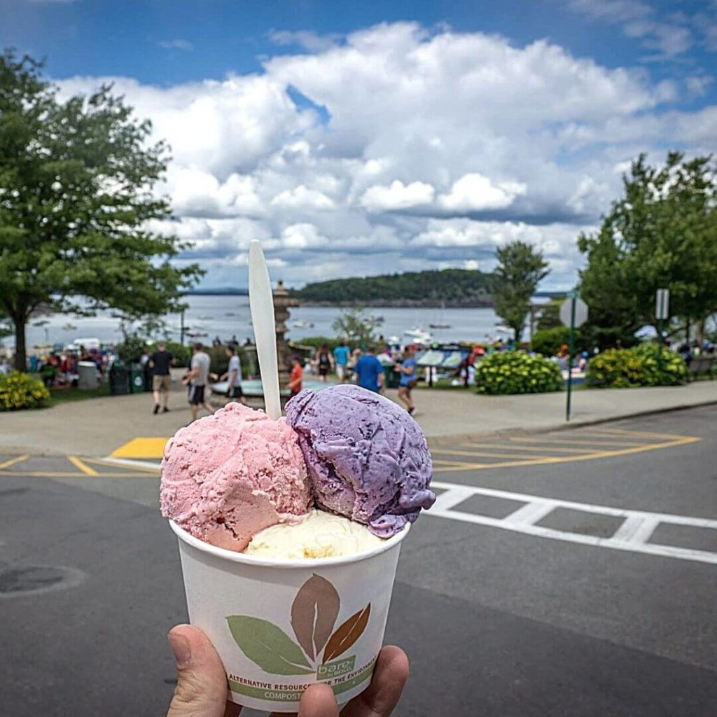 Closeup of a cup of Maine blueberry, strawberry, and vanilla ice cream with downtown Bar Harbor in the background.