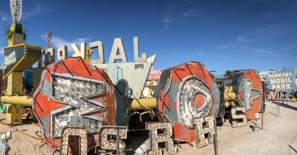 Closeup of old neon signs at the Las Vegas Neon Museum boneyard.