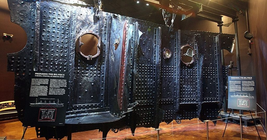 Photo of a piece of the Titanic Ocean Liner at the Titanic Exhibit at the Luxor Vegas.