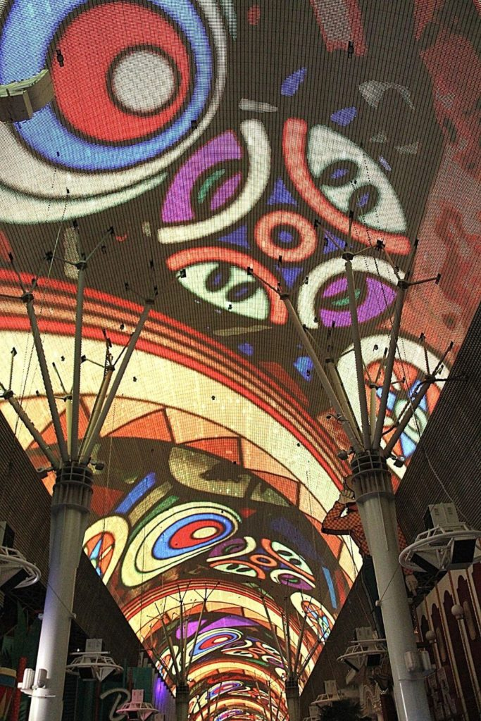 Closeup of the Fremont Street Experience LED canopy.