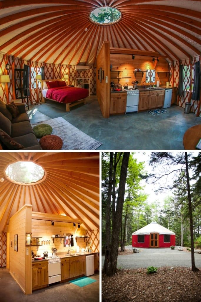 Photo collage with a horizontal photo of the interior of a yurt on the top and 2 vertical photos on the bottom: (L) Closeup of the kitchen inside a yurt & (R) Photo of the exterior of a red yurt in a wooded campsite.