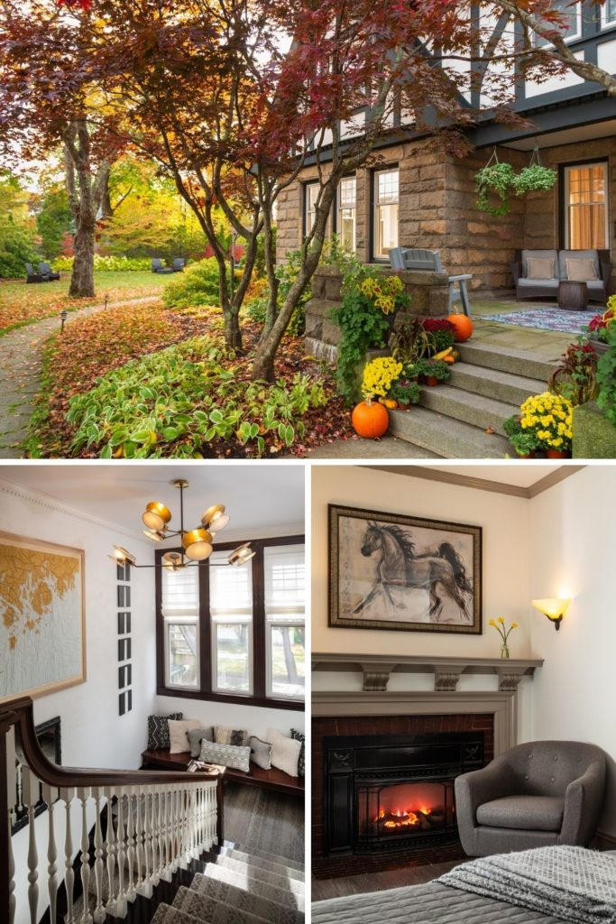 Photo collage with 3 photos. Top horizontal image shows the exterior of Atlantean amidst Fall foliage. The bottom 2 vertical photos show (L) a cozy stairwell inside the cottage with a quilt of the Maine coast hanging on the wall and (R) the interior of one of the rooms with a fireplace lit up and a cozy blanket on at the foot of the bed.