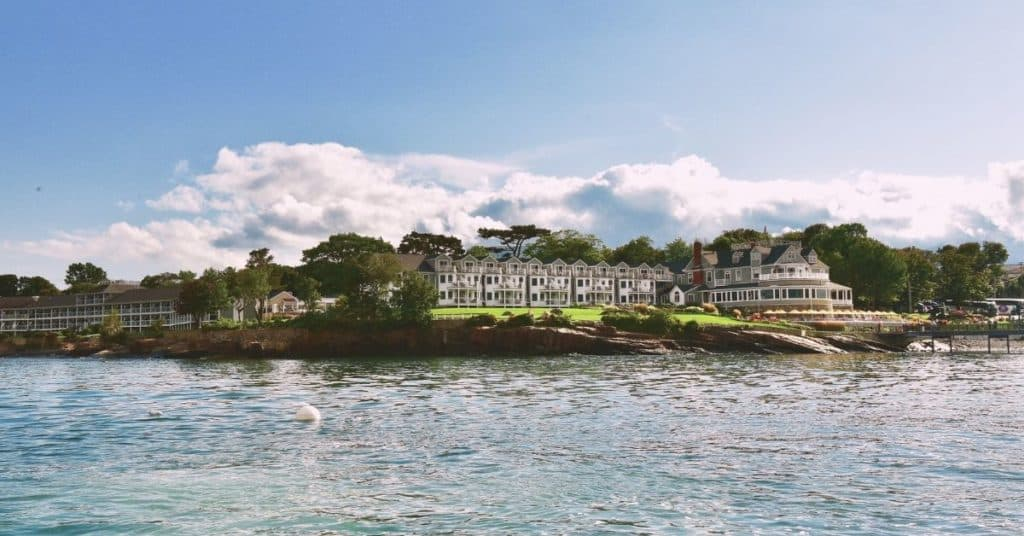Photo of the Bar Harbor Inn & Spa from the water.
