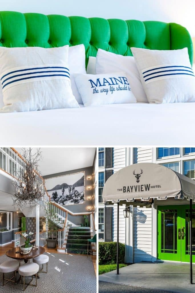Graphic with closeup of a guest bed with white linens with 2 vertical photos below: (L) View of the Bayview Hotel interior lobby and (R) view of the entrance to the Bayview Hotel.