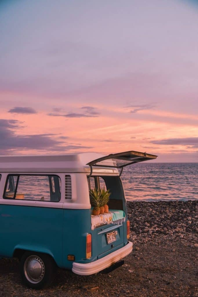 Photo of a vintage Volkswagon van parked on a rocky beach with pineapples sitting at the edge of the trunk.
