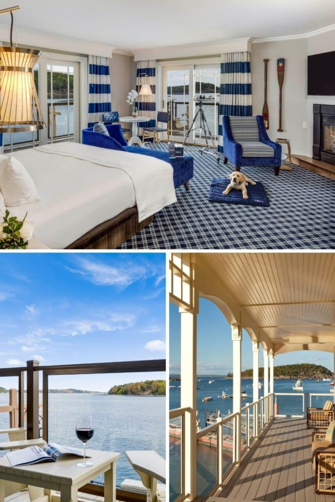 Graphic with a horizontal photo of a nautical themed hotel room and 2 vertical photos below it: (L) photo from behind a chair and a table with a glass of wine with views of Frenchman Bay in the background and (R) photo of a balcony overlooking Frenchman Bay at the Harborside Hotel in Bar Harbor.