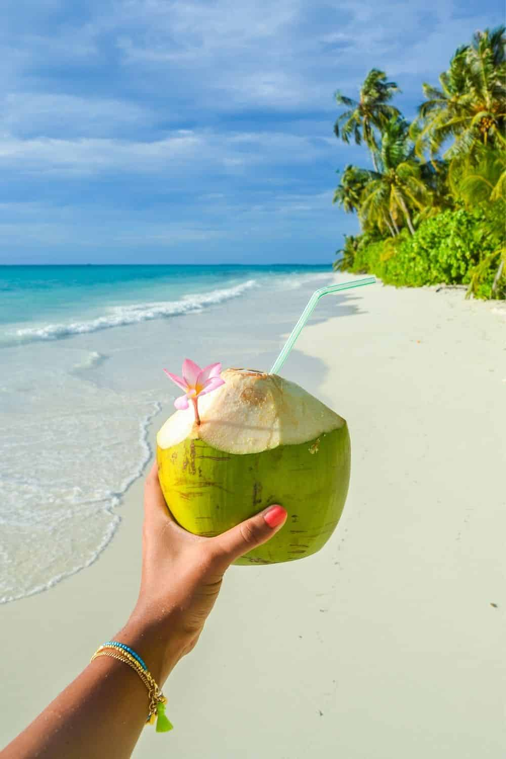 Photo of a person holding a green coconut with a straw with a Hawaiian beach in the background.