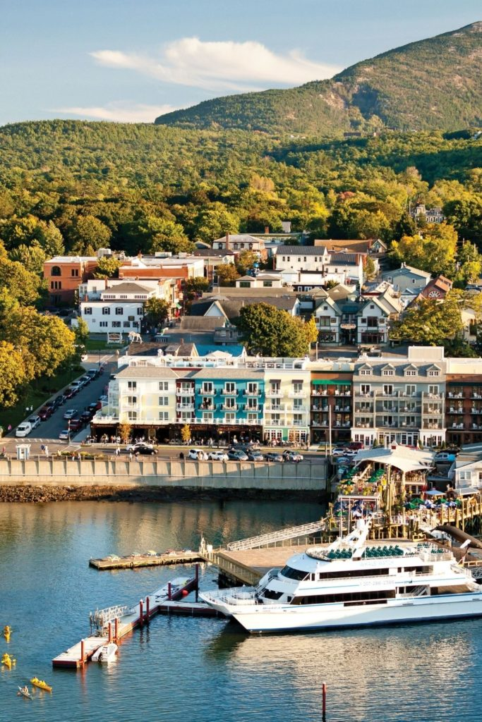 Aerial photo of downtown Bar Harbor, Maine, including the marina.