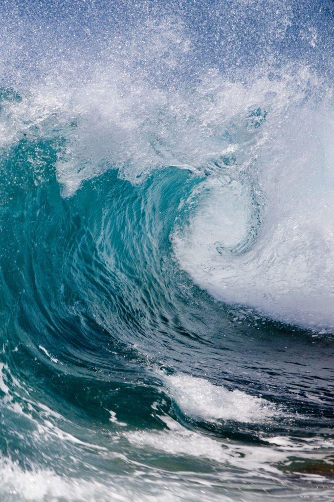 Closeup photo of a massive wave.