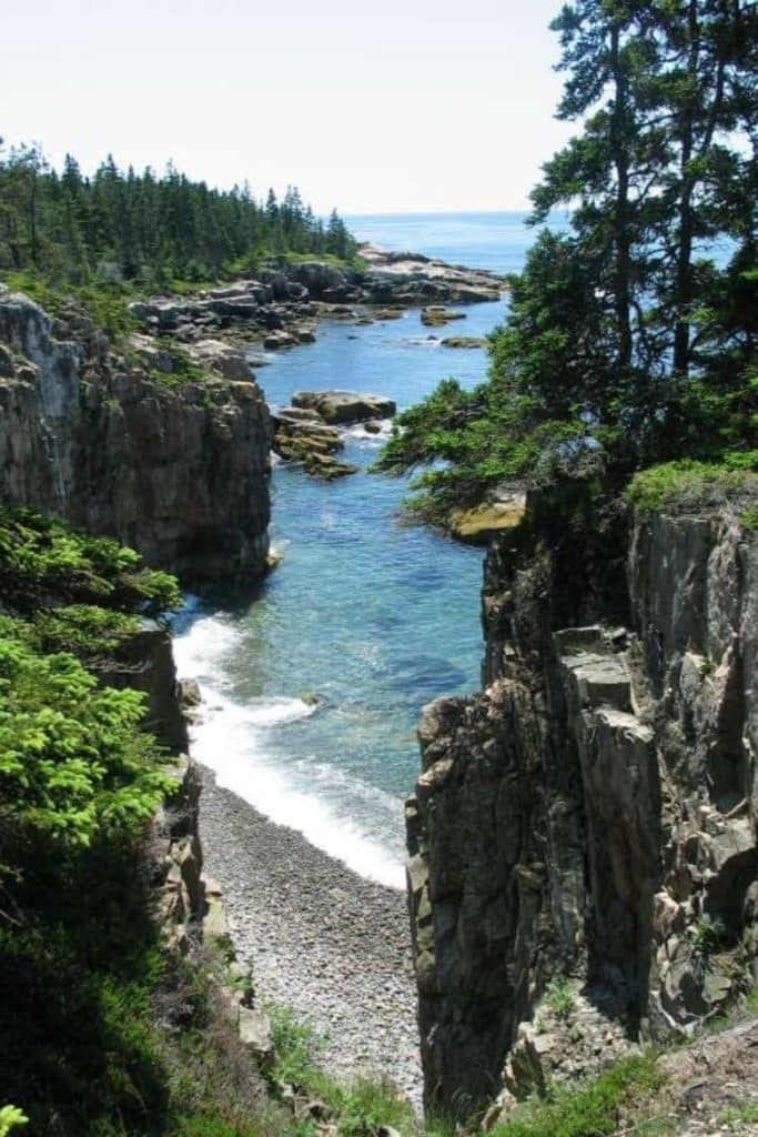 Photo of the shore along the Schoodic Peninsula in Acadia National Park.
