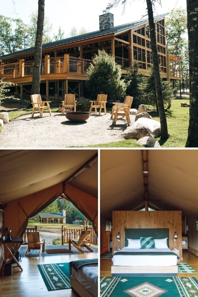 Graphic with horizontal photo of a large cabin with a firepit circle with 2 vertical photos below: (L) photo looking outside from within a glamping tent and (R) photo of the interior of a glamping tent at Terramor in Bar Harbor, Maine.