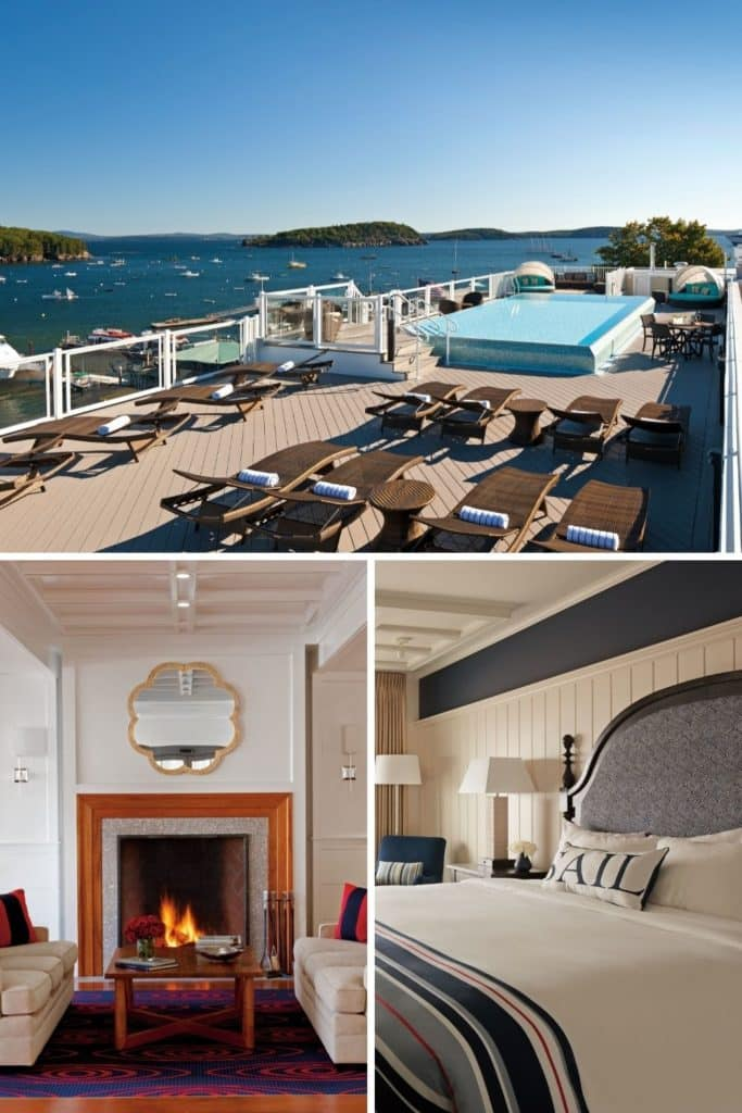 Graphic with a horizontal photo of a roof deck plunge pool overlooking Frenchman Bay in Bar Harbor with 2 vertical photos below it: (L) snapshot of a cozy nook in the West Street Hotel lobby with the fireplace lit up and (R) closeup of a nautical themed guest room.