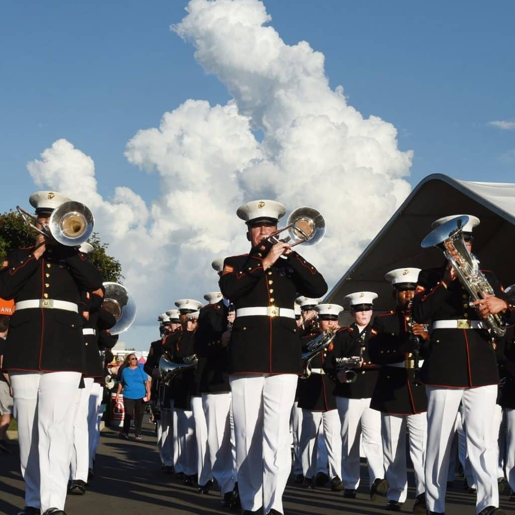Photo of the US Marine Marching Band performing in the Big E grand parade.