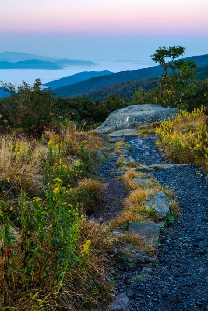 Photo overlooking mountains from the Appalachian Trail in the Roan Highlands in North Carolina.