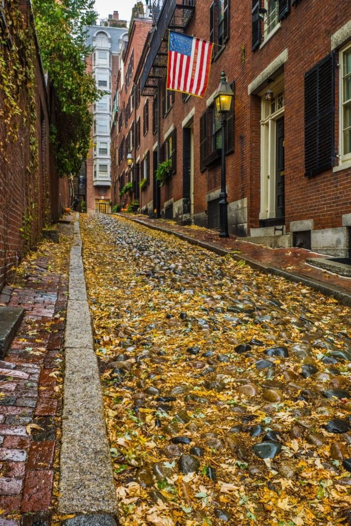 Closeup of the cobblestone Acorn St. in Boston with yellow leaves on the ground.