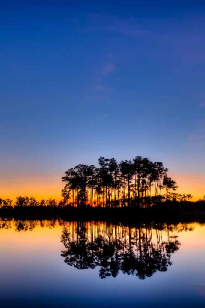 Photo of the sun setting behind trees and coastline with water in the foreground at Everglades National Park.