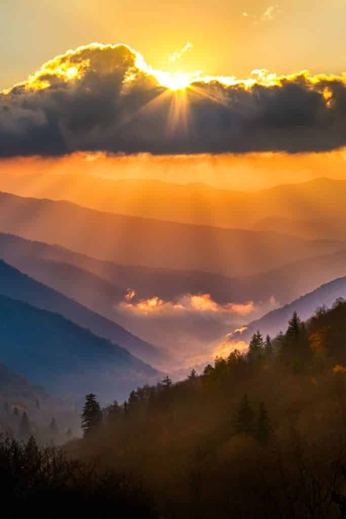 Photo of the Oconaluftee overlook in the Great Smoky Mountains during sunrise on a cloudy day.