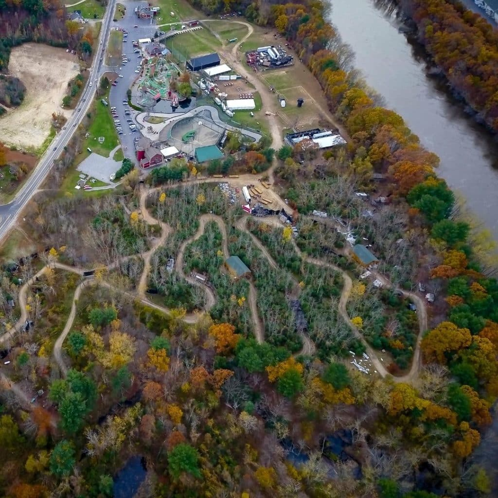 Aerial view of the Nightmare New England haunted hayride in New Hampshire.