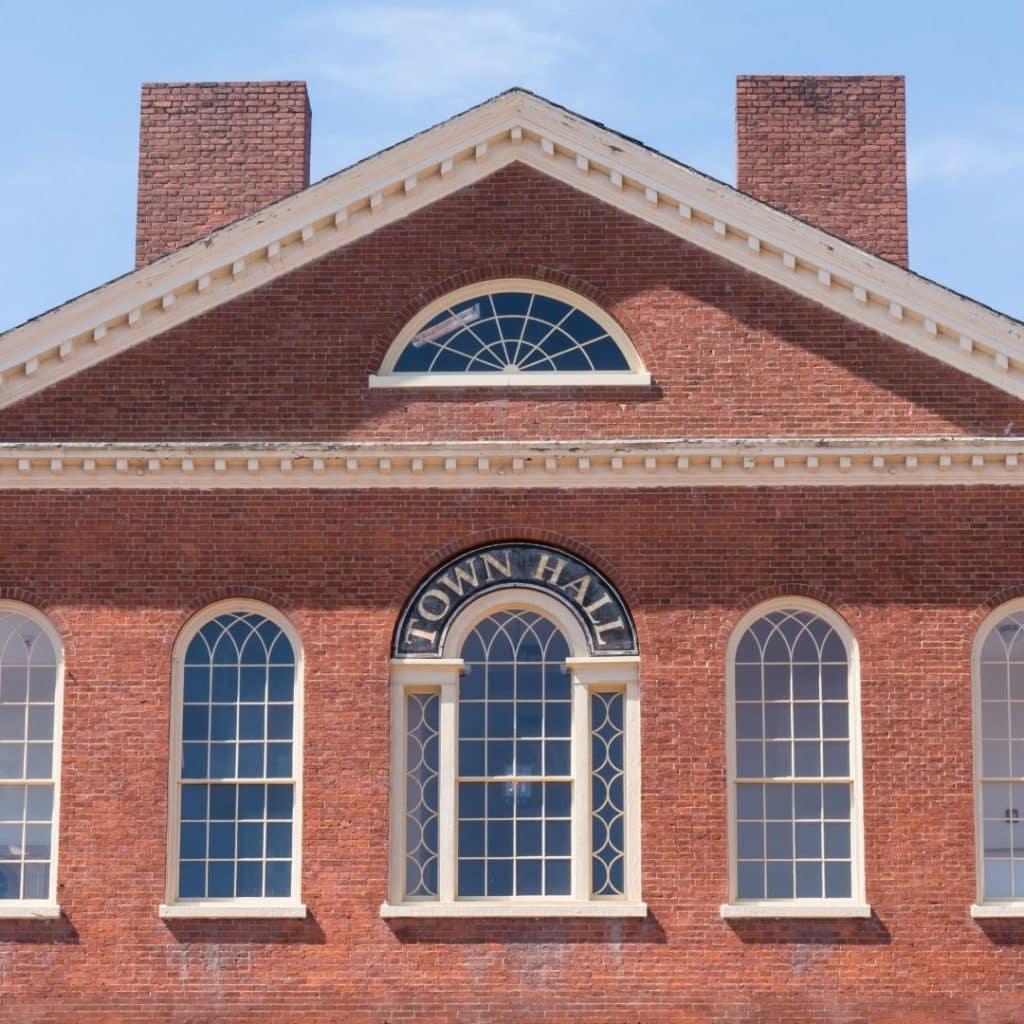 Closeup of the Salem, MA town hall building.