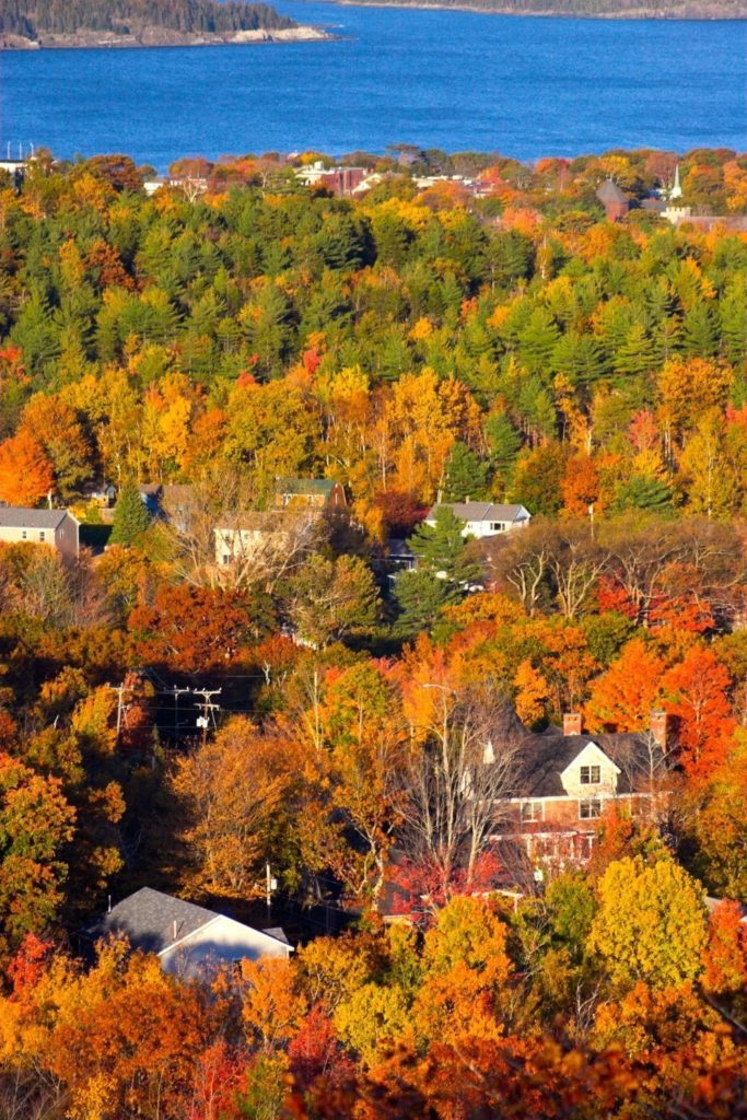 Aerial photo of Bar Harbor, Maine in the Fall.