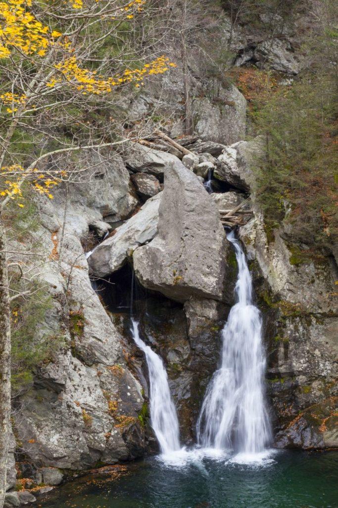 Closeup of Bish Bash Falls in Massachusetts.