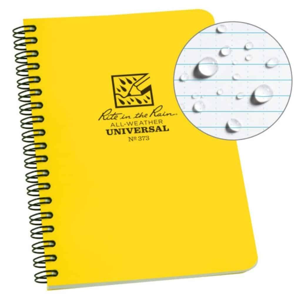 Photo of a yellow Rite in the Rain All Weather notebook.