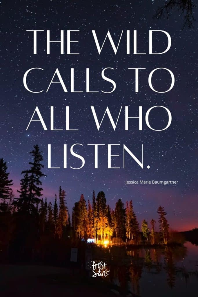 """Photo of a campsite on the edge of a lake with a purple, starry sky. Text overlay reads """"The wild calls to all who listen."""""""