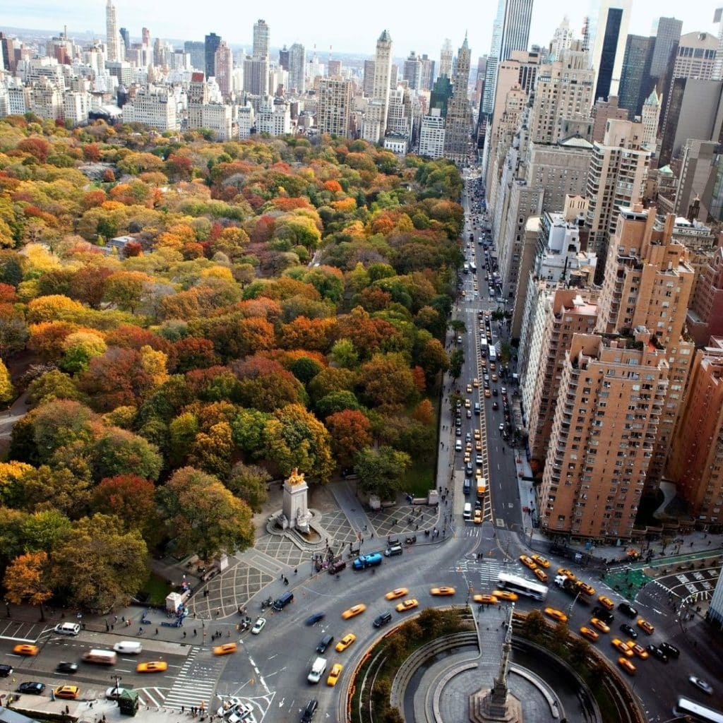 Aerial view of Central Park in the Fall.