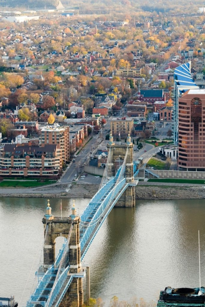 Aerial photo of Cincinnati with the Roebling bridge in the foreground and lots of Fall foliage dotting the landscape in the background.