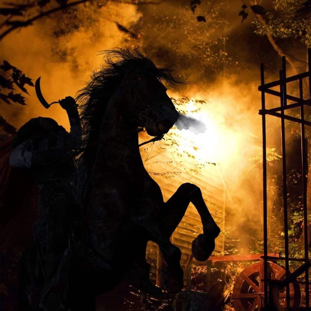 Photo of a silhouette of a headless horseman.