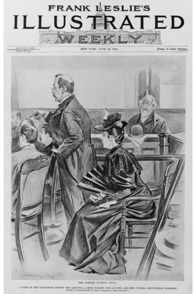 Graphic of a vintage newspaper front page showing a drawing from the Lizzie Borden murder trial..