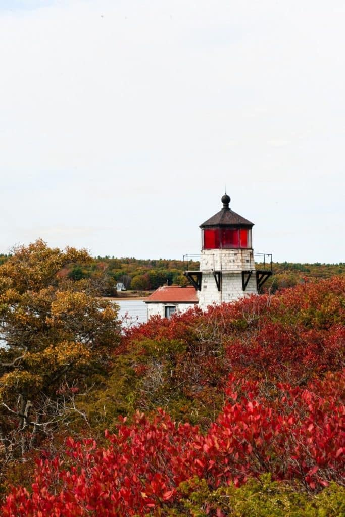 Photo of an old lighthouse with Fall foliage in the landscape.